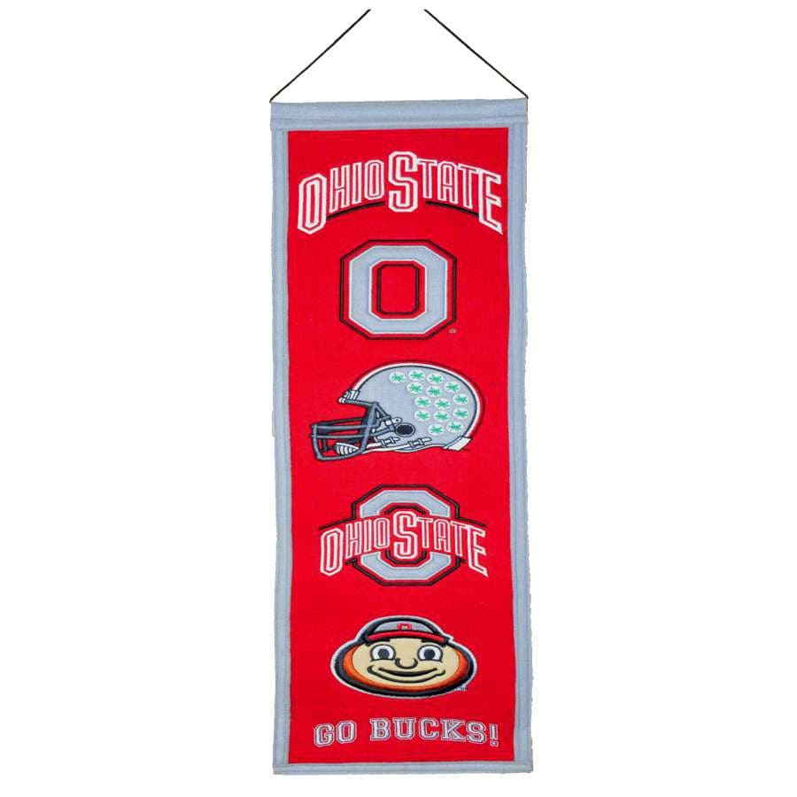 Winning Streak 0.66-ft W x 2.66-ft H Embroidered Ohio State Buckeyes Banner