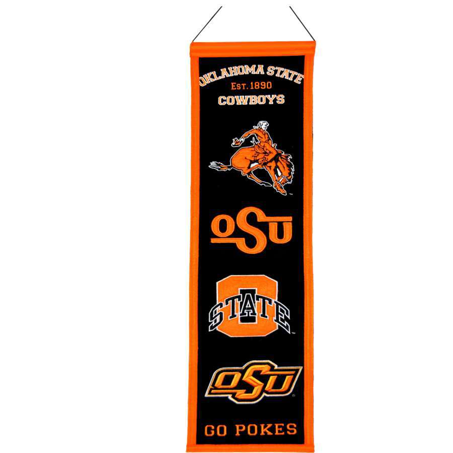 Winning Streak 0.66-ft W x 2.66-ft H Embroidered Oklahoma State Cowboys Banner