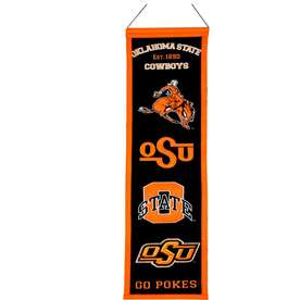 caa3e9c89ab Winning Streak 0.66-ft W x 2.66-ft H Embroidered Oklahoma State Cowboys  Banner