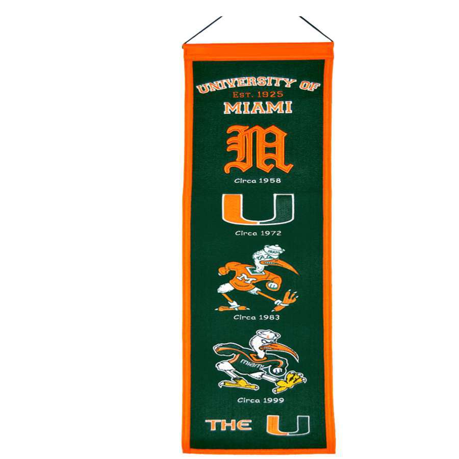 Winning Streak 0.66-ft W x 2.66-ft H Embroidered Miami Hurricanes Banner