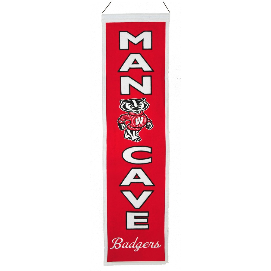 Winning Streak 0.66-ft W x 2.66-ft H Collegiate Embroidered University of Wisconsin Badgers Banner