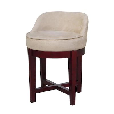 Incredible Elegant Home Fashions 23 In H Cherry Wood And Beige Squirreltailoven Fun Painted Chair Ideas Images Squirreltailovenorg