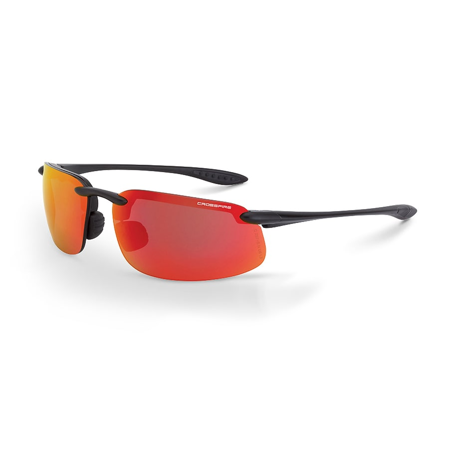 CrossFire Solitude Safety Glass Matte Black Frame, HD Red Mirror Lens