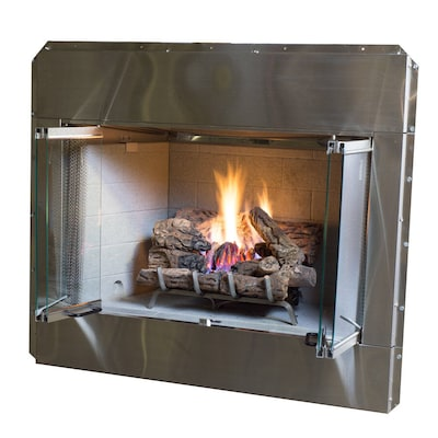 Stainless Steel Outdoor Vented Wood Burning Fireplace Insert At
