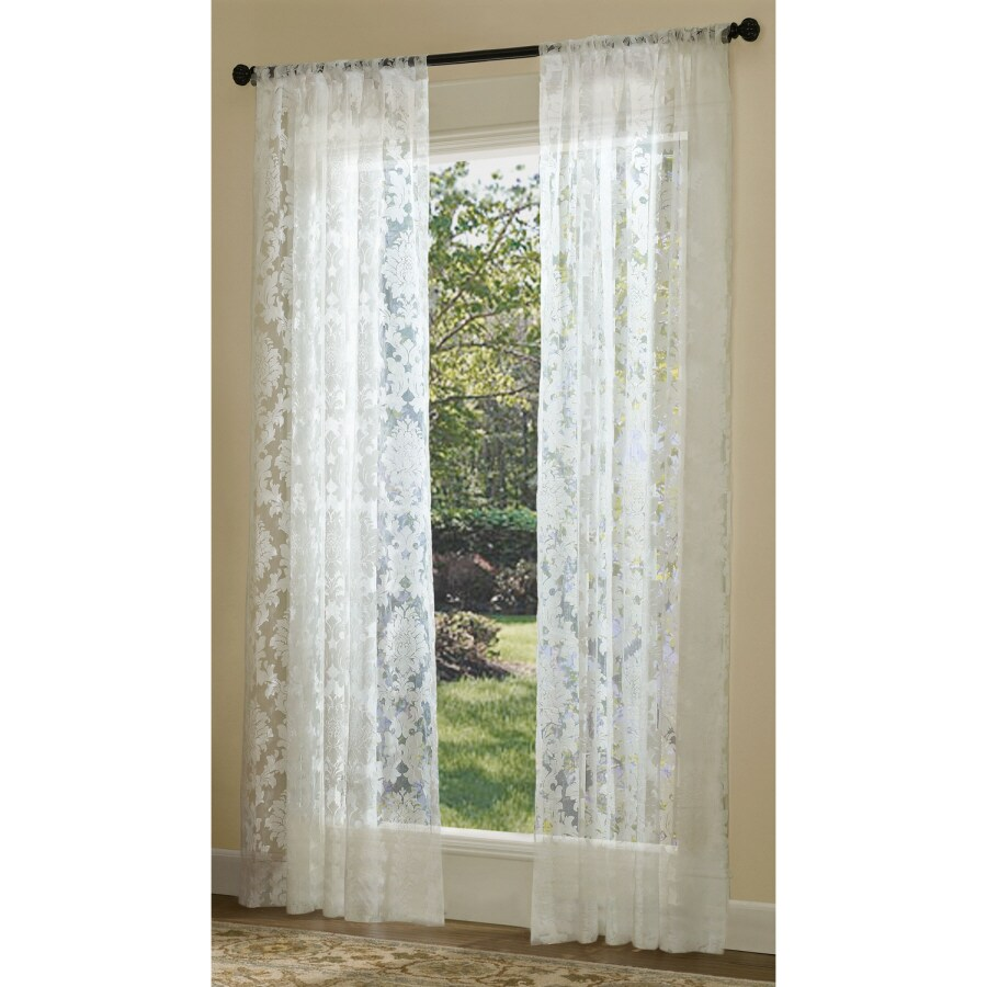Allen + Roth Bristol Sheer 84 In White Polyester Rod Pocket Sheer  Allen Roth Curtains