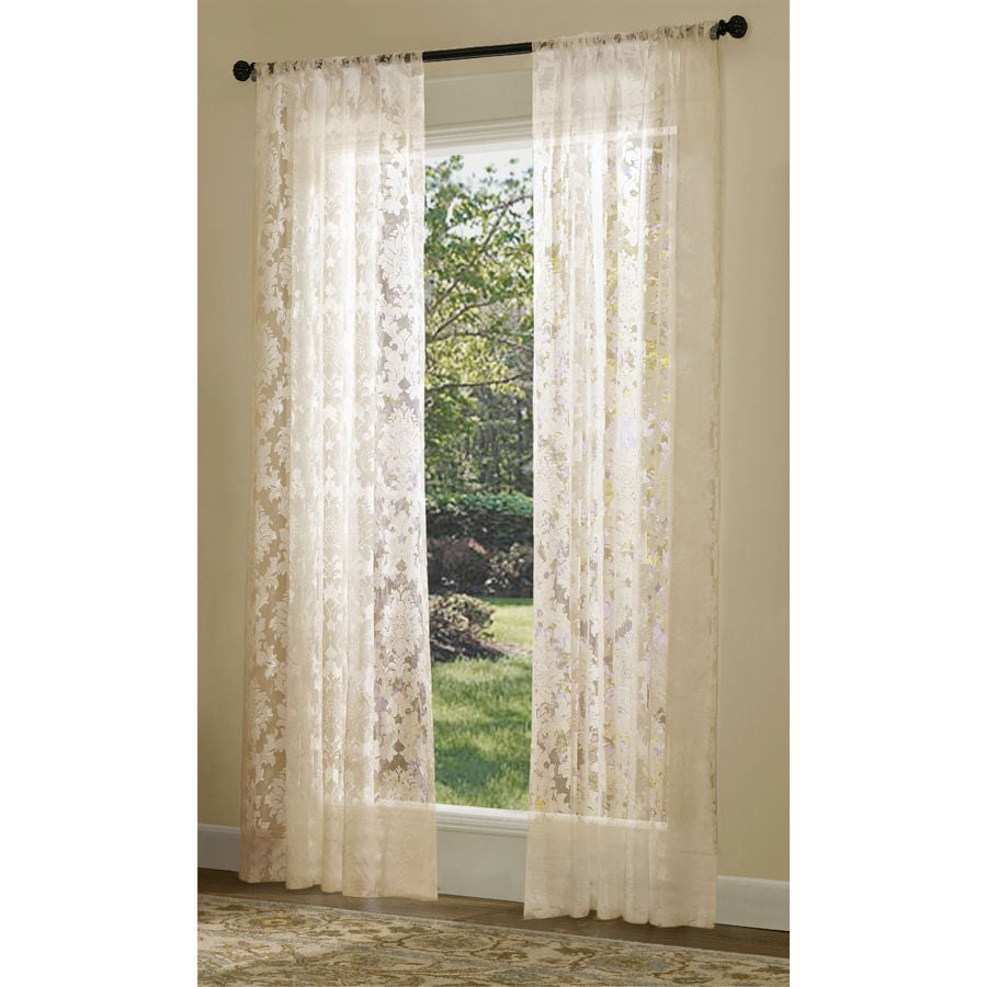 allen + roth Bristol Sheer Curtain 84-in L Solid Ivory Rod Pocket Sheer Curtain