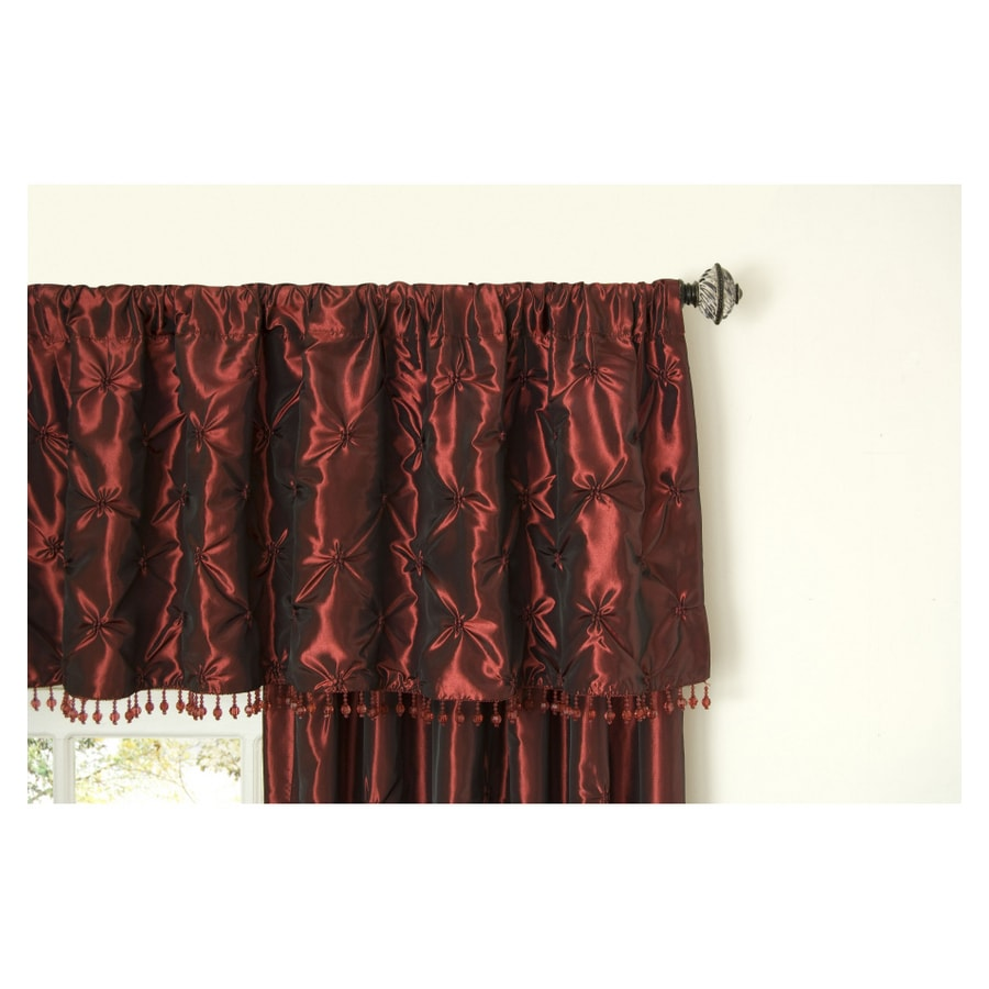 allen + roth Belleville Valance 20-in Wine Polyester Rod Pocket Valance
