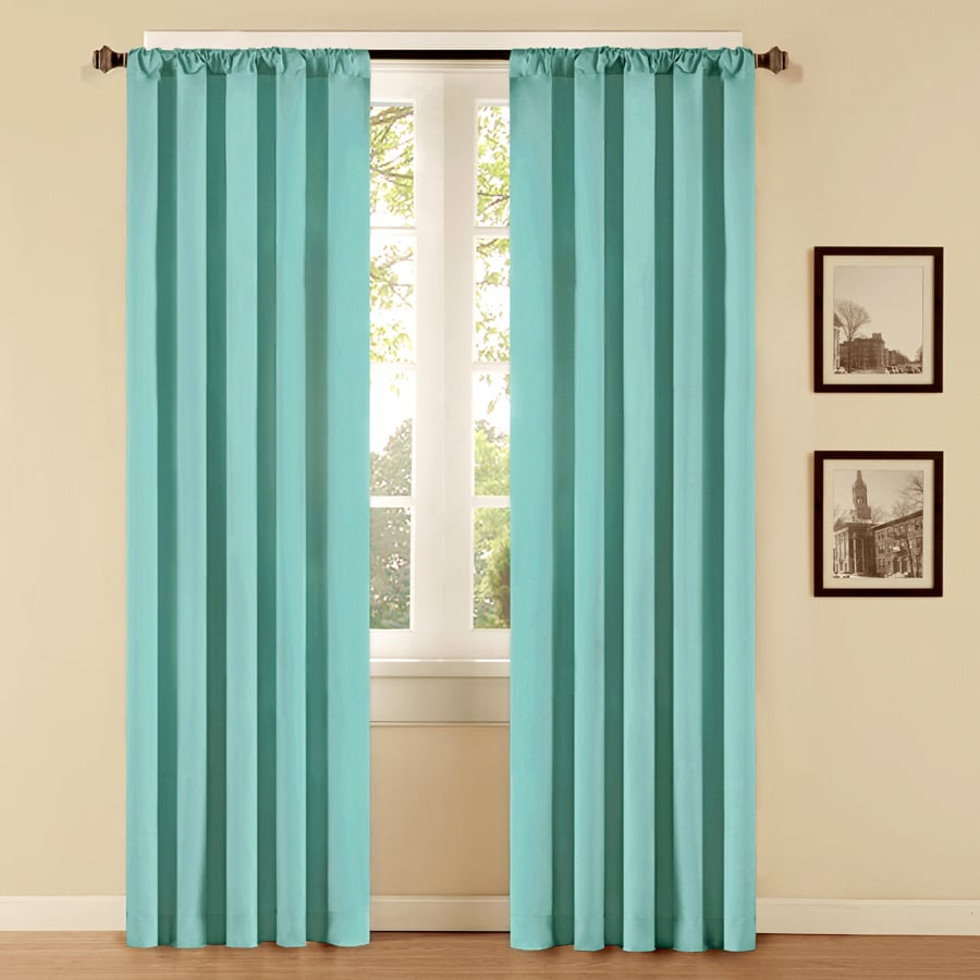 Style Selections 84 In L Solid Aqua Thermal Rod Pocket Curtain Panel