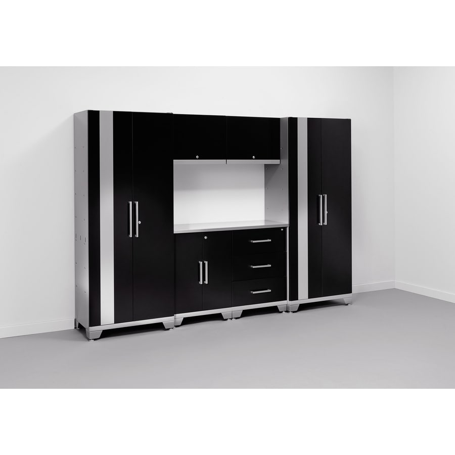 NewAge Products Performance 108-in W x 75-in H Matte Black Doors and A Matte Silver Frame Steel Garage Storage System