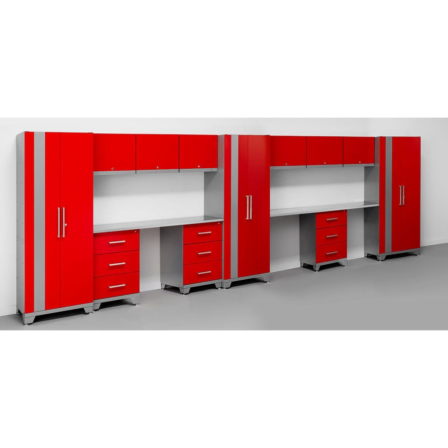 NewAge Products Performance 234-in W x 75-in H Matte Red Doors and A Matte Silver Frame Steel Garage Storage System