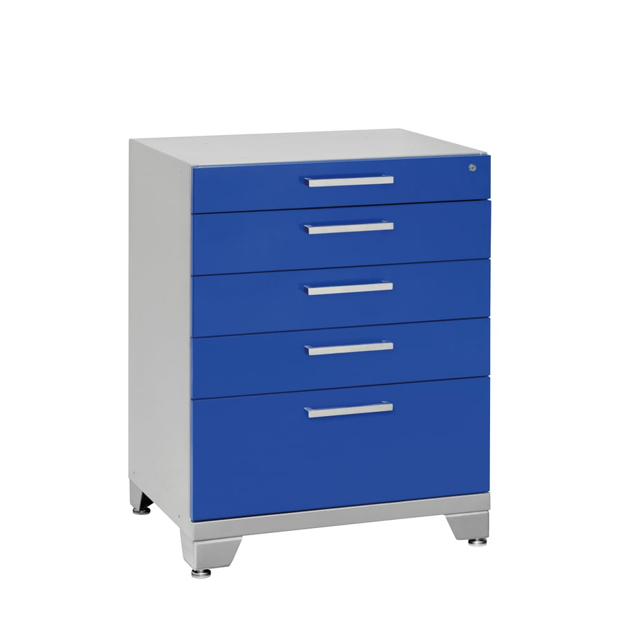 NewAge Products Performance Plus 36-in x 28-in 5-Drawer Ball-Bearing Steel Tool Cabinet (Blue)