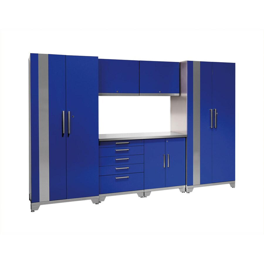 NewAge Products Performance Plus 128-in W x 85.25-in H High-Gloss Blue Doors and a High-Gloss Silver Frame Steel Garage Storage System