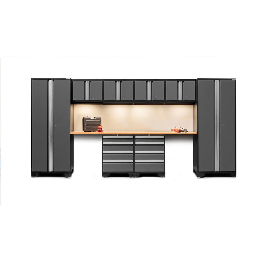 NewAge Products Bold 3.0 156-in W x 77-in H Jet Black Frames with Charcoal Gray Doors Steel Garage Storage System