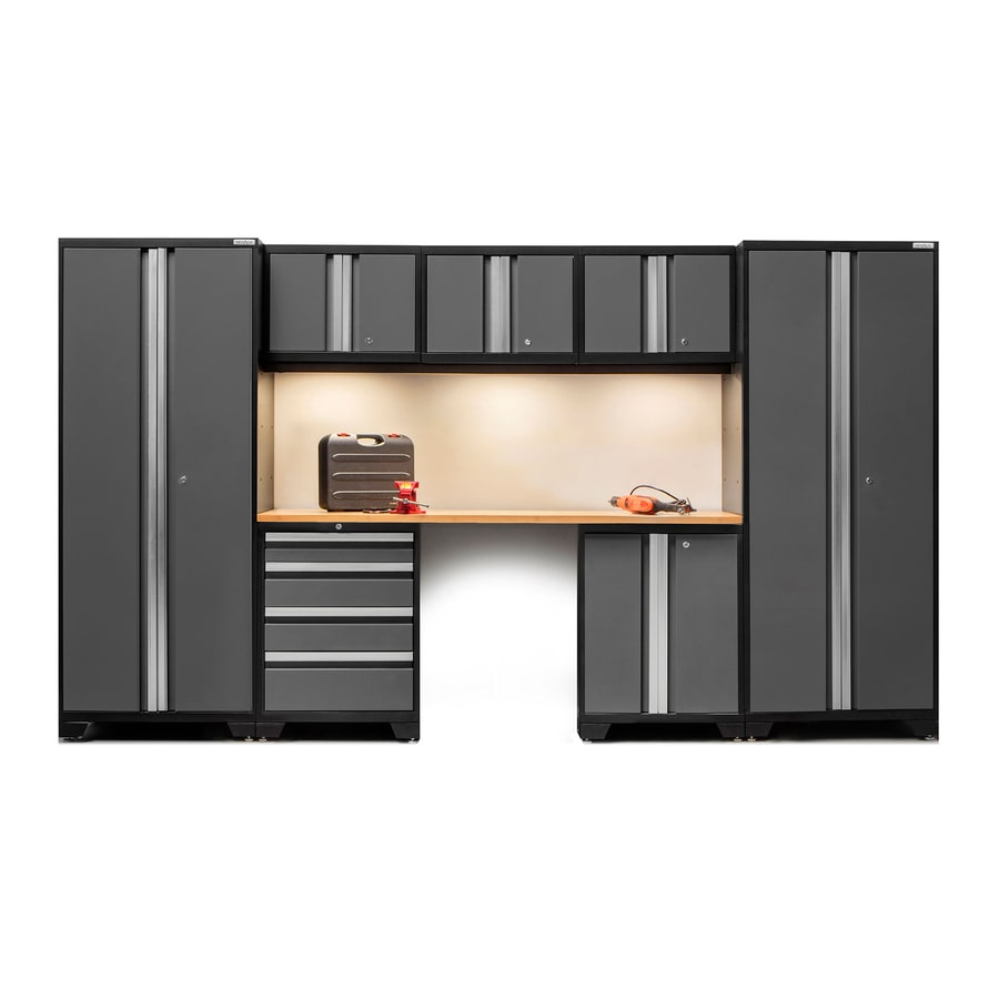black garage cabinets shop newage products bold 3 0 132 in w x 77 in h jet black 12367