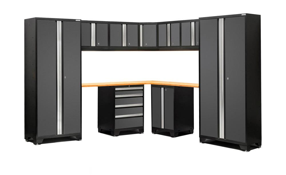 NewAge Products Bold 3.0 99-in W x 77.25-in H Jet Black Frames with Charcoal Gray Doors Steel Garage Storage System