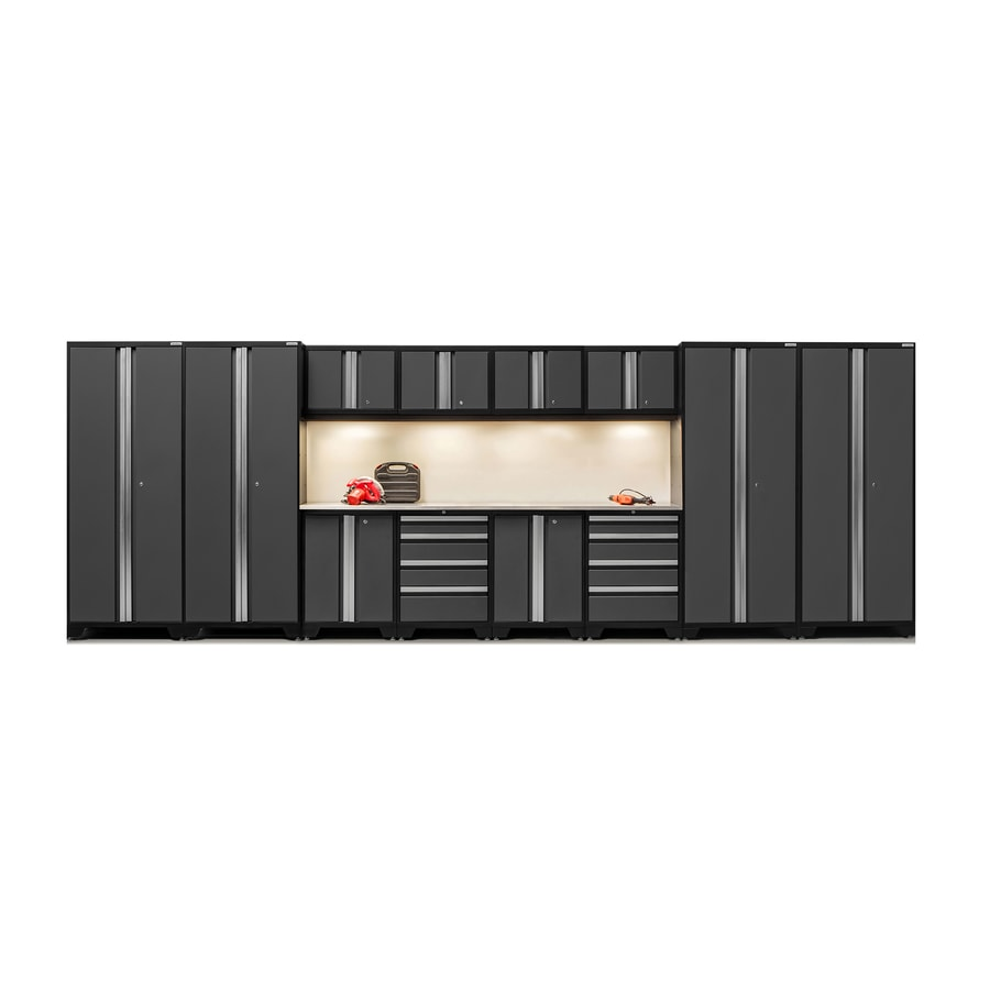 NewAge Products Bold 3.0 216-in W x 77-in H Jet Black Frames with Charcoal Gray Doors Steel Garage Storage System