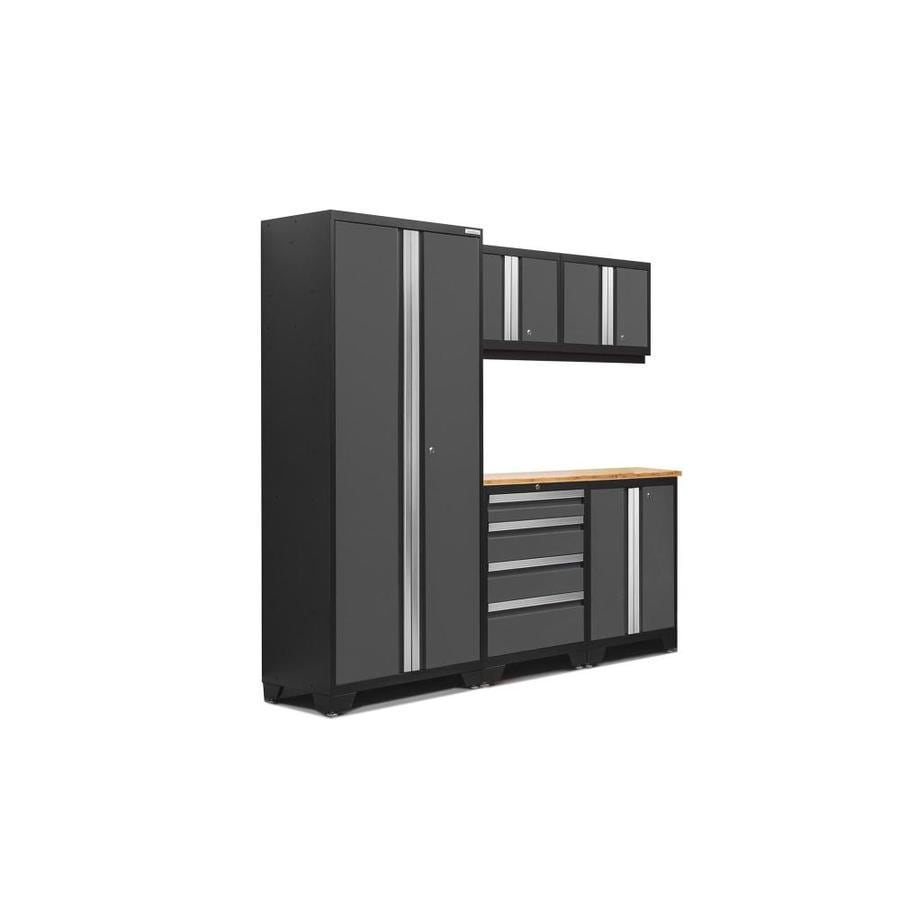 NewAge Products Bold 3.0 78-in W x 77.25-in H Jet Black Frames with Charcoal Gray Doors Steel Garage Storage System