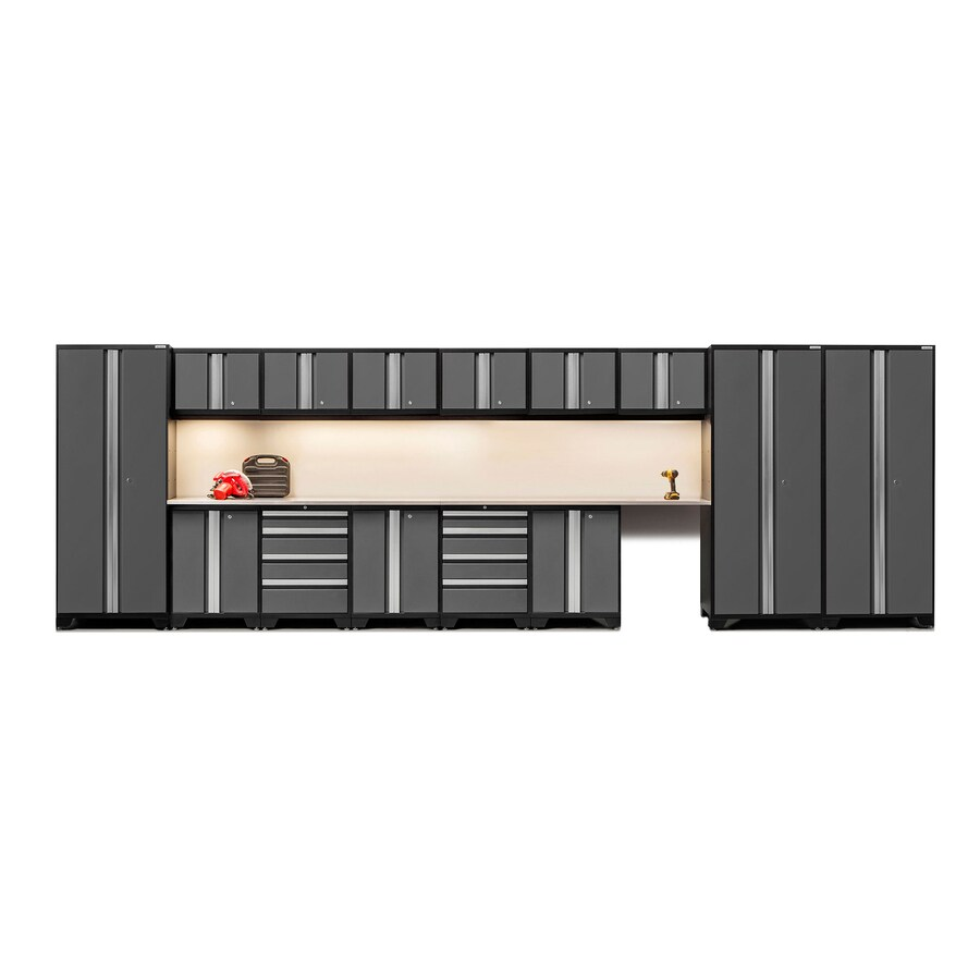 NewAge Products Bold 3.0 234-in W x 77-in H Jet Black Frames with Charcoal Gray Doors Steel Garage Storage System