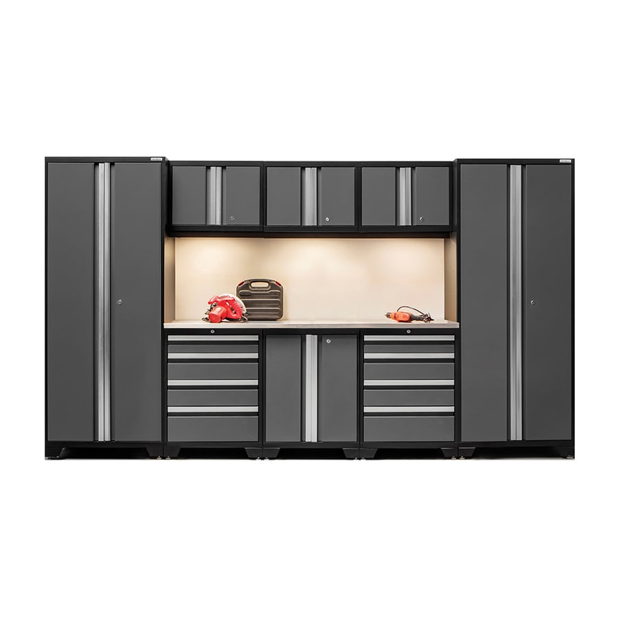 NewAge Products Bold 3.0 132-in W x 77-in H Jet Black Frames with Charcoal Gray Doors Steel Garage Storage System