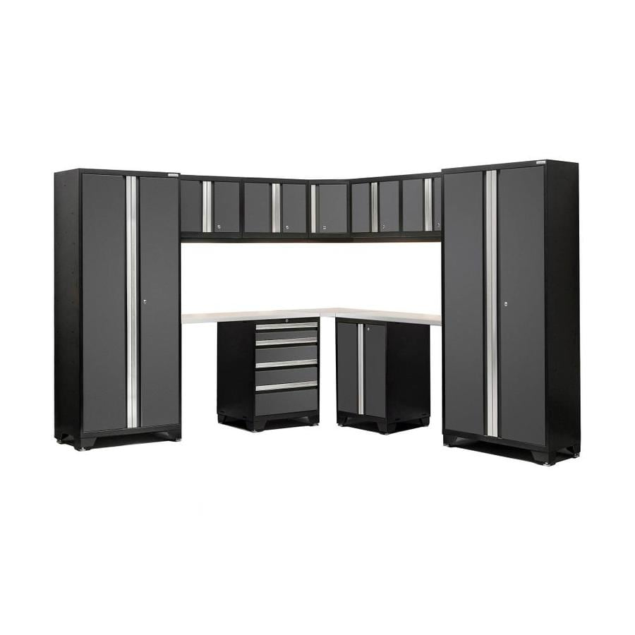 NewAge Products Bold 3.0 99-in W x 77-in H Jet Black Frames with Charcoal Gray Doors Steel Garage Storage System