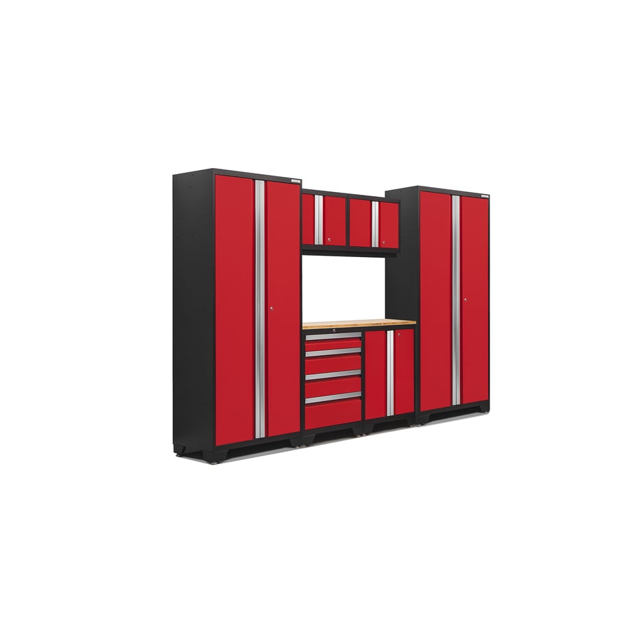 NewAge Products Bold 3.0 108-in W x 77-in H Jet Black Frames with Deep Red Doors Steel Garage Storage System