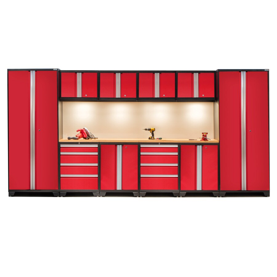 NewAge Products Bold 3.0 156-in W x 77-in H Jet Black Frames with Deep Red Doors Steel Garage Storage System