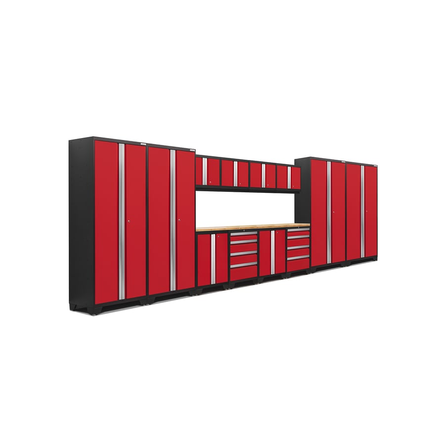 NewAge Products Bold 3.0 216-in W x 77-in H Jet Black Frames with Deep Red Doors Steel Garage Storage System
