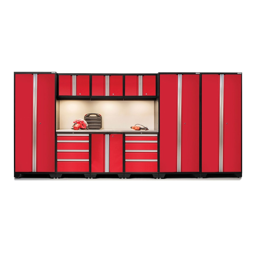 NewAge Products Bold 3.0 162-in W x 77-in H Jet Black Frames with Deep Red Doors Steel Garage Storage System