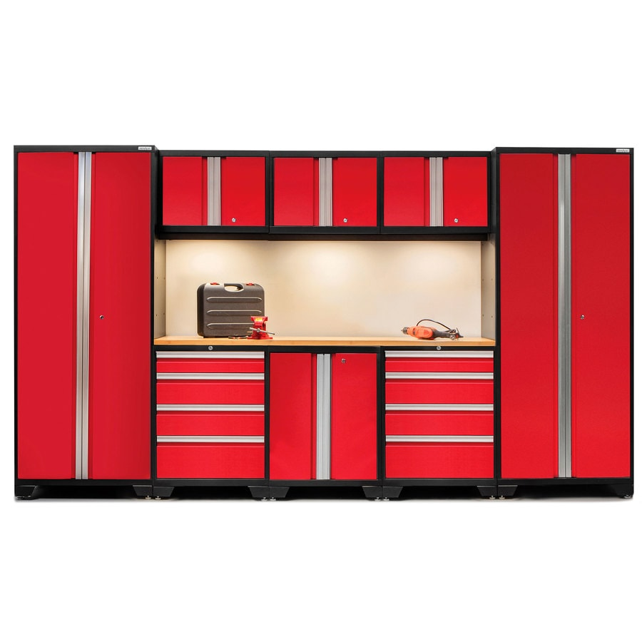 NewAge Products Bold 3.0 132-in W x 77-in H Jet Black Frames with Deep Red Doors Steel Garage Storage System