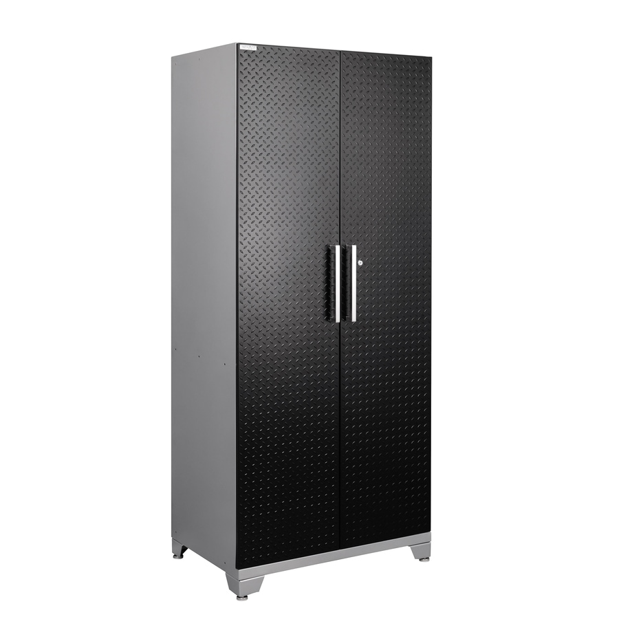 NewAge Products Performance Plus Diamond Plate 36-in W x 84-in H x 24-in D Matte Black Doors and a Silver Frame Steel Full Storage Lockers