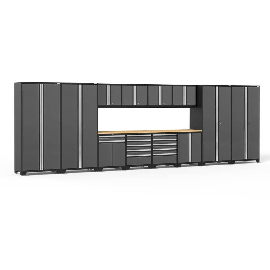 NewAge Products Pro 3.0 256-in W x 85-in H Jet Black Frames with Charcoal Gray Doors Steel Garage Storage System