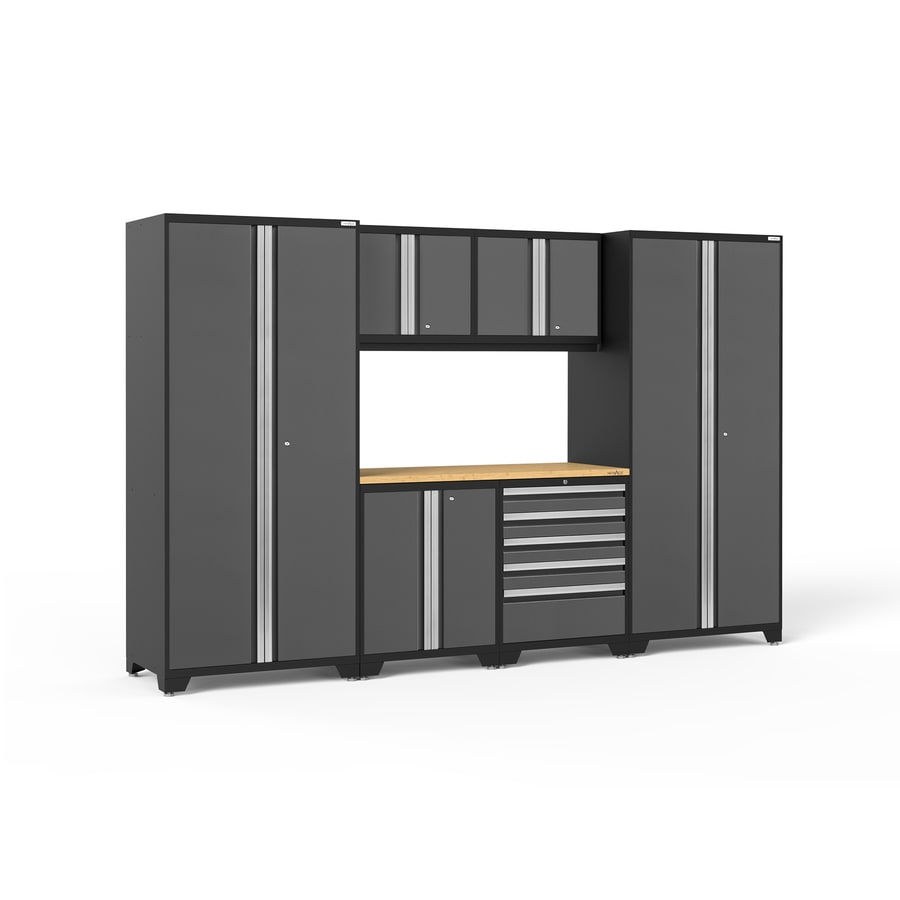 shop newage products pro 3 0 128 in w x 85 in h jet black frames with charcoal gray doors steel. Black Bedroom Furniture Sets. Home Design Ideas