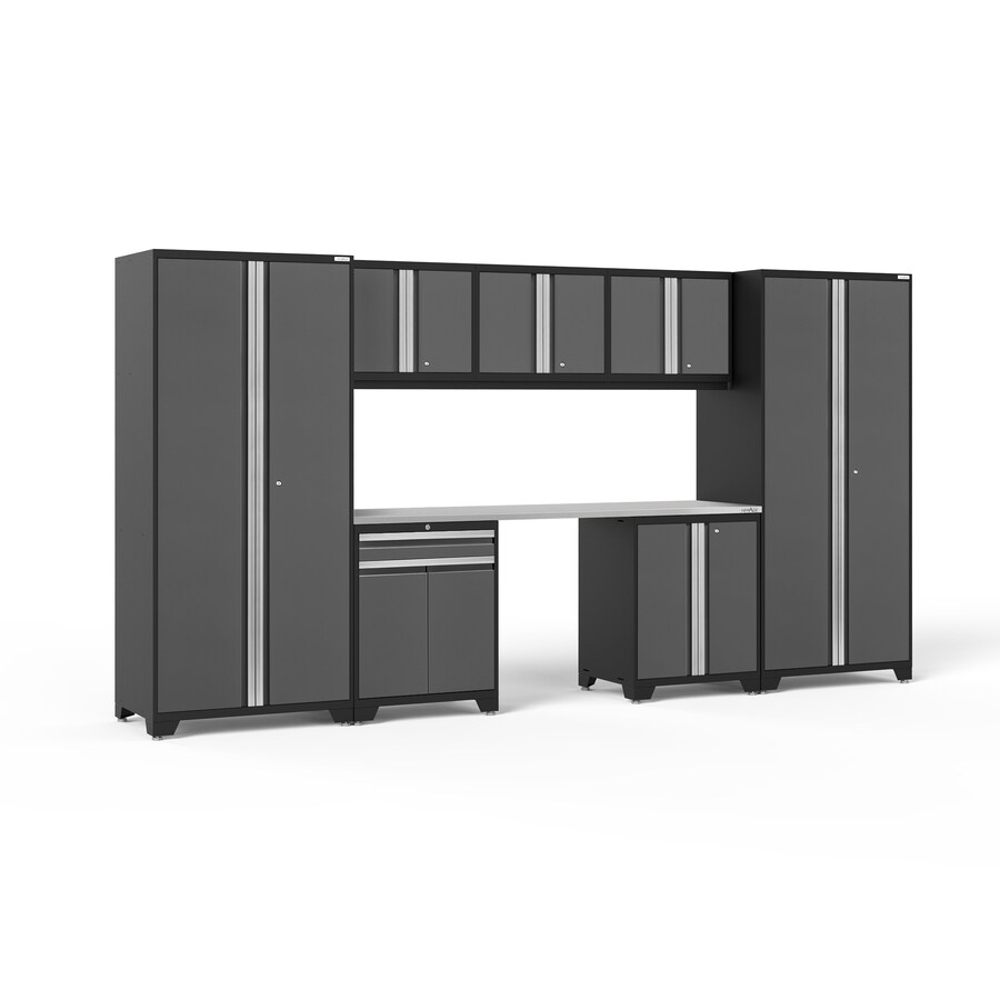 NewAge Products Pro 3.0 156-in W x 85-in H Jet Black Frames with Charcoal Gray Doors Steel Garage Storage System