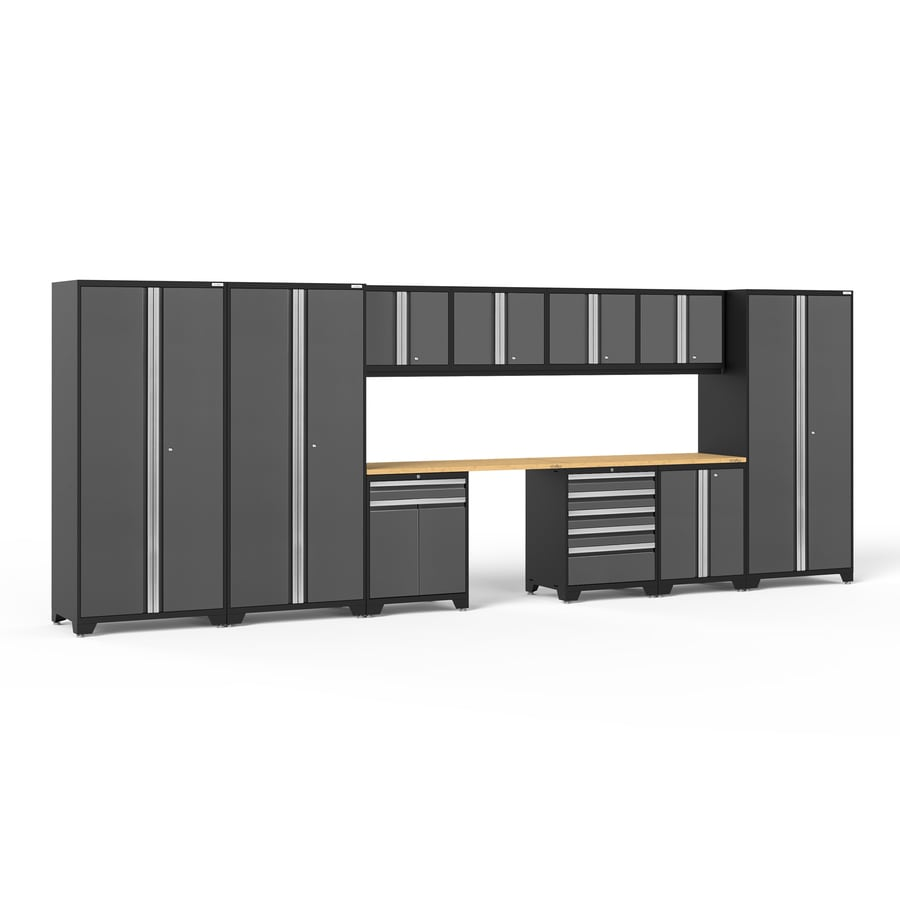 NewAge Products Pro 3.0 220-in W x 85.25-in H Jet Black Frames with Charcoal Gray Doors Steel Garage Storage System