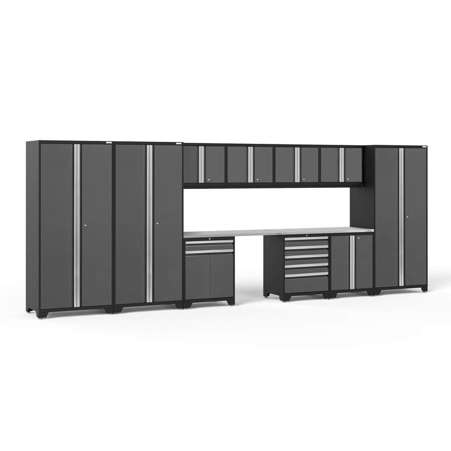 NewAge Products Pro 3.0 220-in W x 85-in H Jet Black Frames with Charcoal Gray Doors Steel Garage Storage System