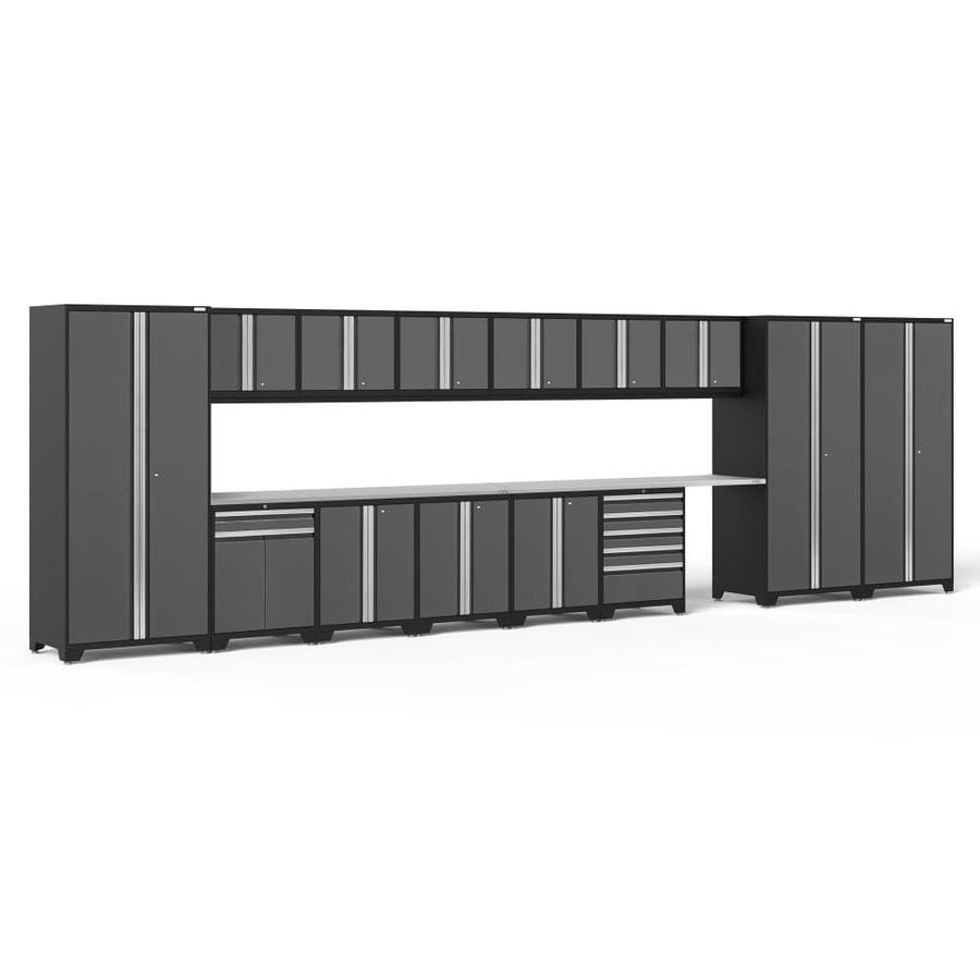 NewAge Products Pro 3.0 276-in W x 85-in H Jet Black Frames with Charcoal Gray Doors Steel Garage Storage System