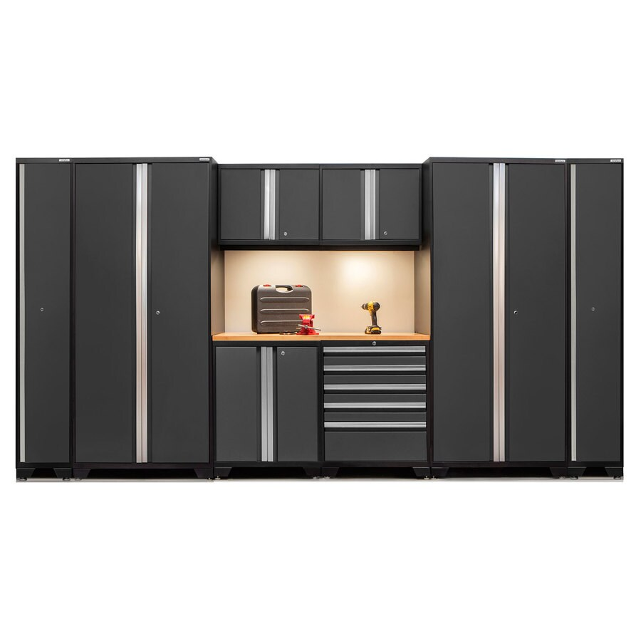 NewAge Products Pro 3.0 158-in W x 85-in H Jet Black Frames with Charcoal Gray Doors Steel Garage Storage System