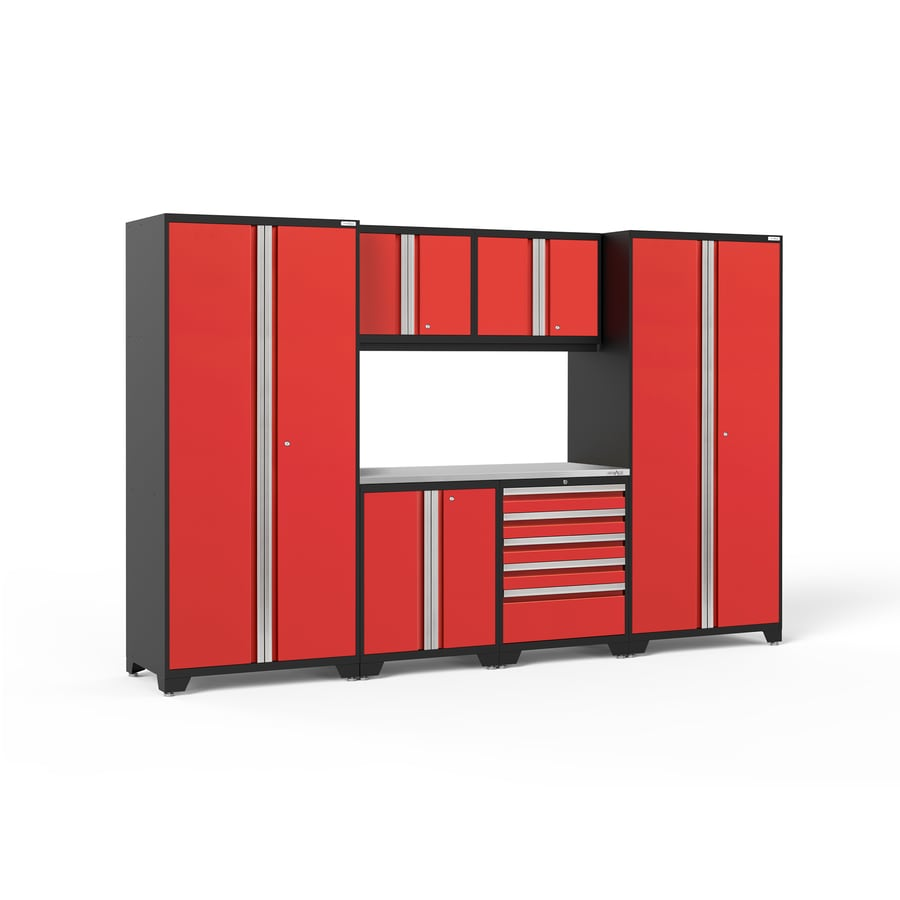 NewAge Products Pro 3.0 128-in W x 85-in H Jet Black Frames with Deep Red Doors Steel Garage Storage System