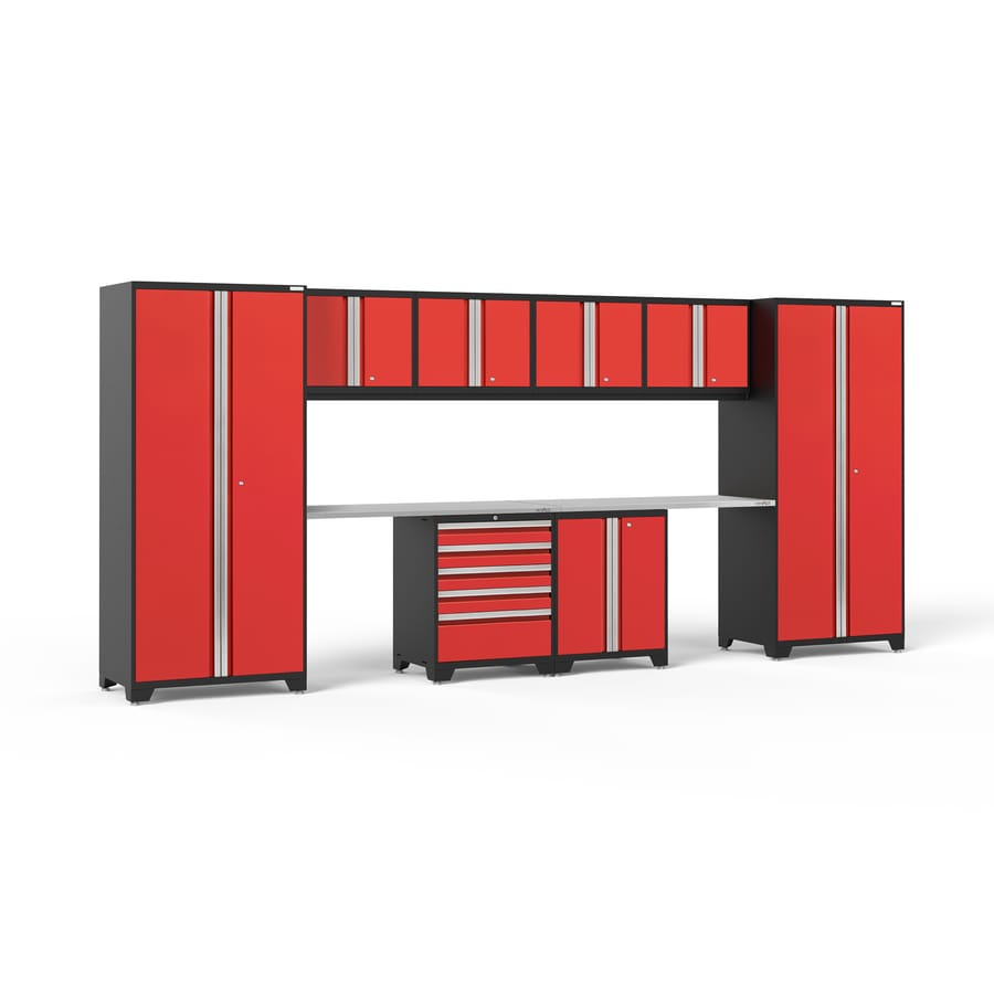 NewAge Products Pro 3.0 184-in W x 85-in H Jet Black Frames with Deep Red Doors Steel Garage Storage System