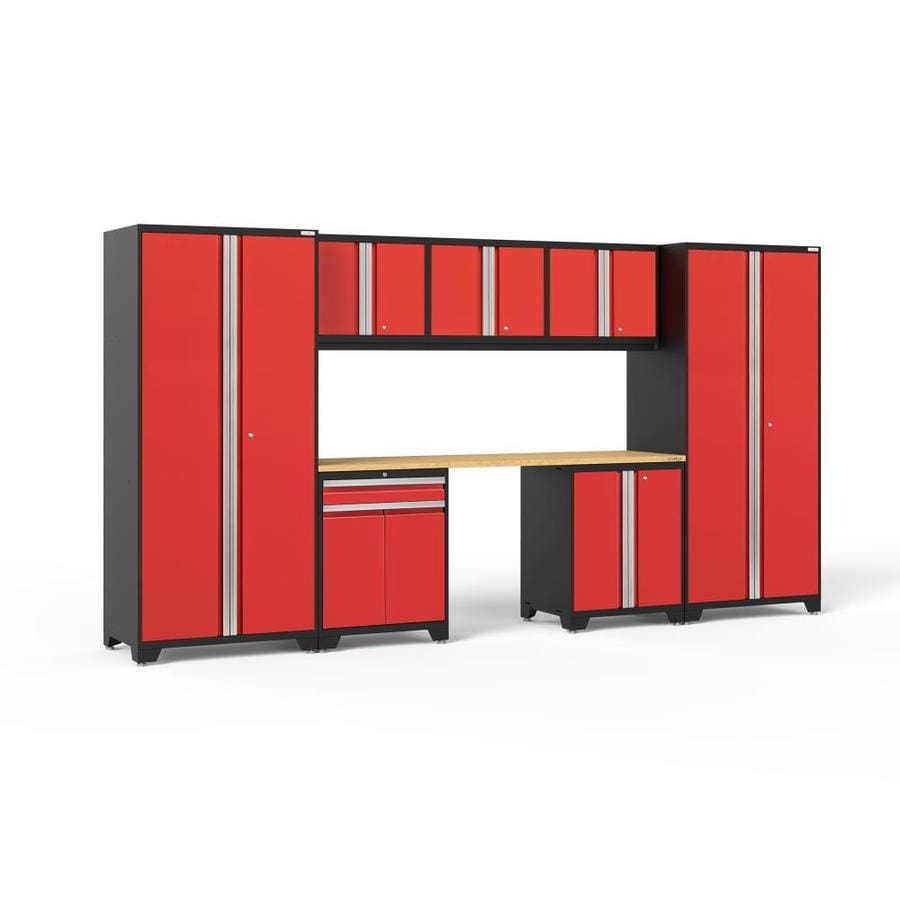 NewAge Products Pro 3.0 156-in W x 85-in H Jet Black Frames with Deep Red Doors Steel Garage Storage System