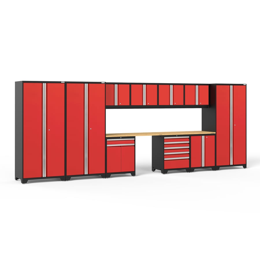 NewAge Products Pro 3.0 220-in W x 85-in H Jet Black Frames with Deep Red Doors Steel Garage Storage System