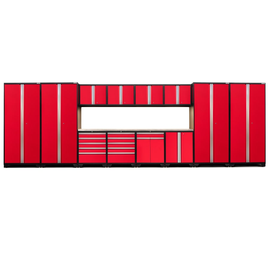 NewAge Products Pro 3.0 256-in W x 85-in H Jet Black Frames with Deep Red Doors Steel Garage Storage System