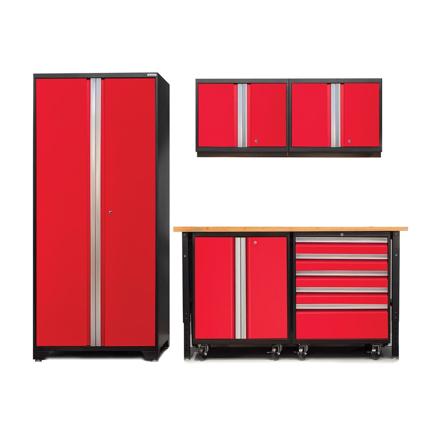 NewAge Products Pro 3.0 102-in W x 85.25-in H Jet Black Frames with Deep Red Doors Steel Garage Storage System