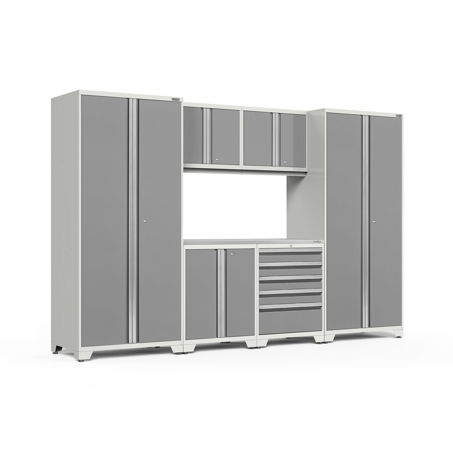NewAge Products Pro 3.0 128-in W x 85-in H Bright White Frames with Platinum Gray Doors Steel Garage Storage System
