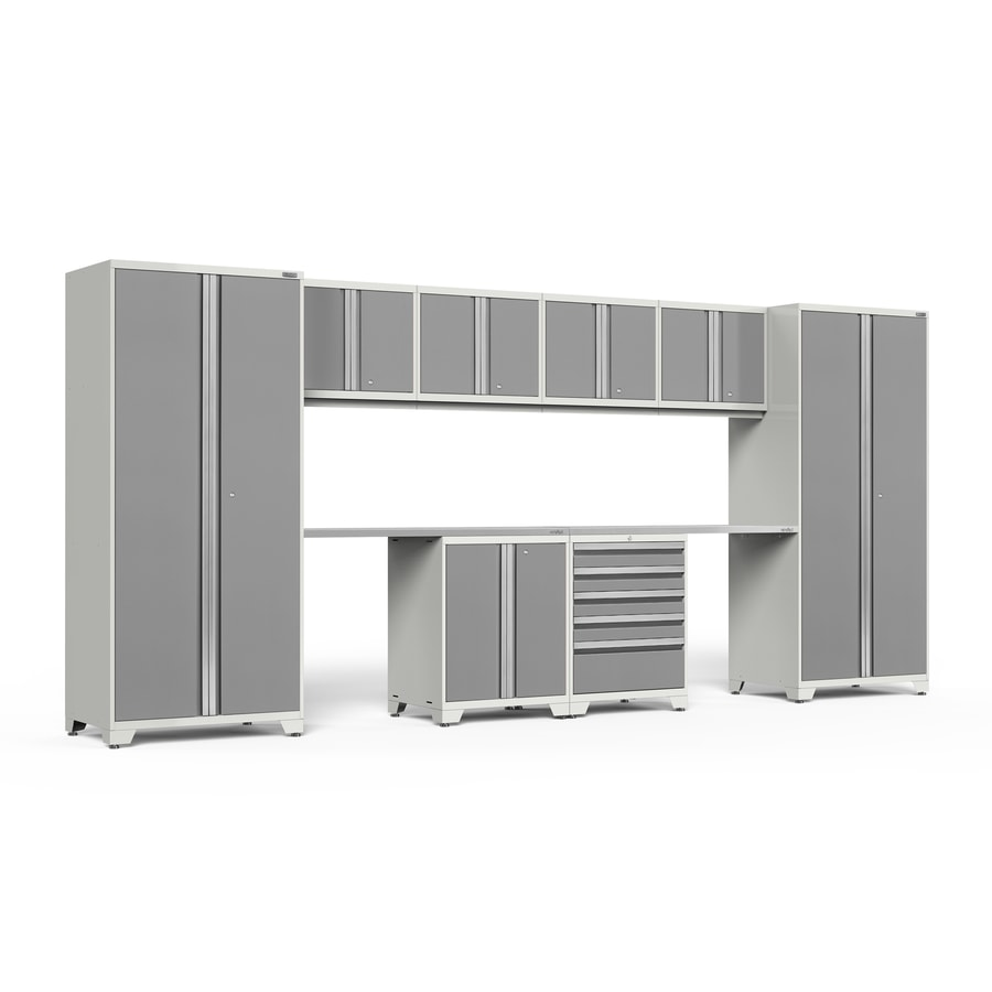 NewAge Products Pro 3.0 184-in W x 85-in H Bright White Frames with Platinum Gray Doors Steel Garage Storage System