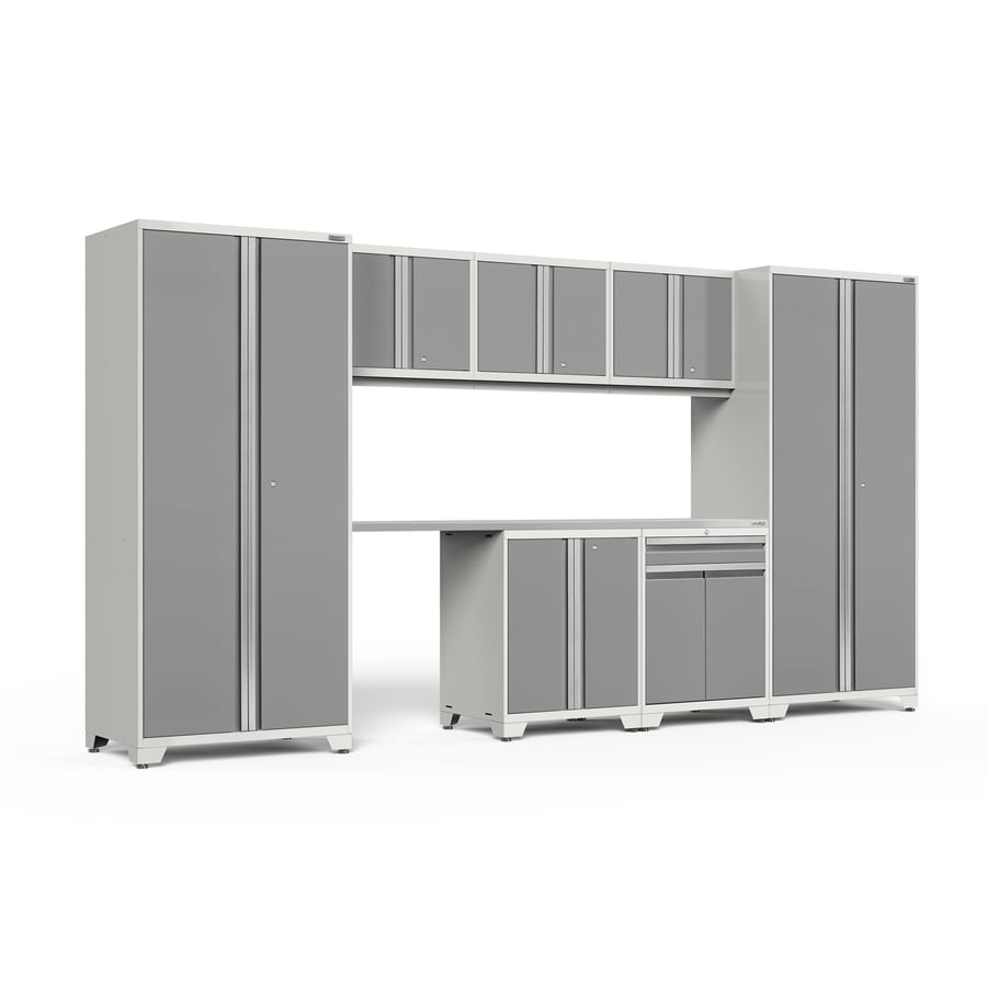 NewAge Products Pro 3.0 156-in W x 85-in H Bright White Frames with Platinum Gray Doors Steel Garage Storage System