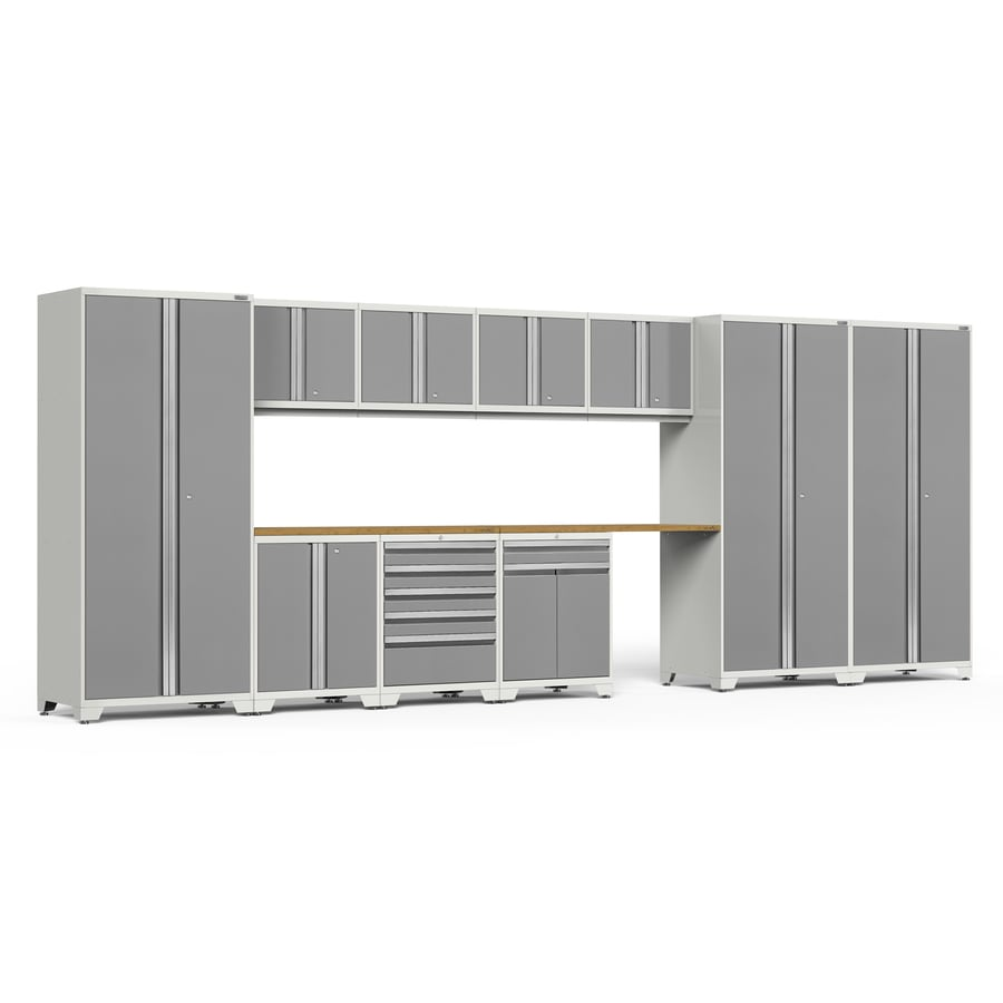NewAge Products Pro 3.0 220-in W x H Bright White Frames with Platinum Gray Doors Steel Garage Storage System
