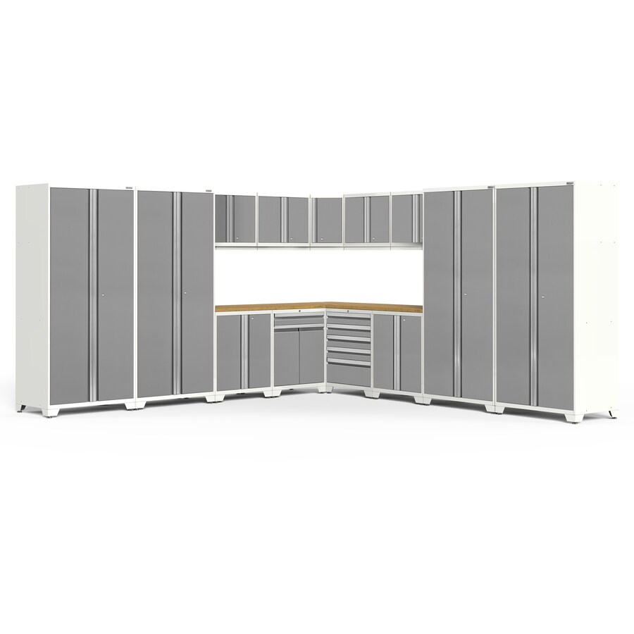 NewAge Products Pro 3.0 152-in W x 85-in H Bright White Frames with Platinum Gray Doors Steel Garage Storage System