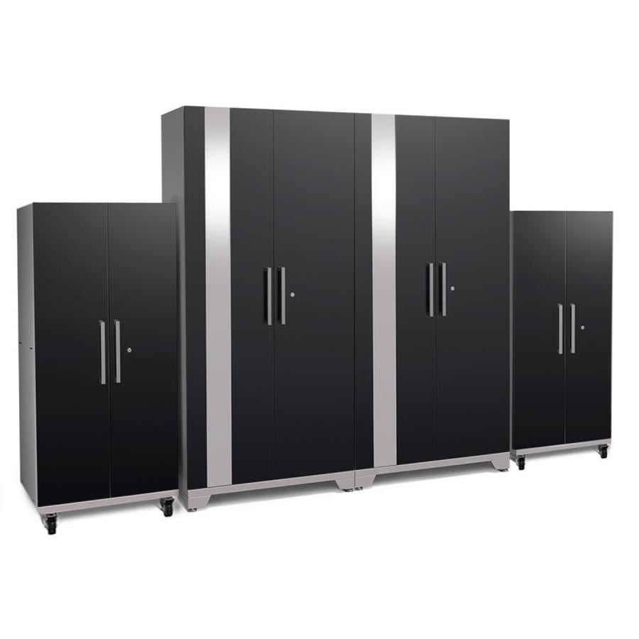 NewAge Products Performance Plus 2 128-in W x 80-in H Gloss Black Steel Garage Storage System