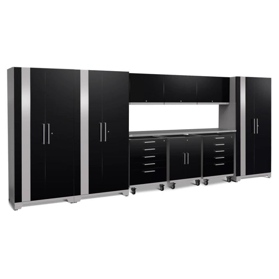 NewAge Products Performance Plus 2 197-in W x 80-in H Gloss Black Steel Garage Storage System